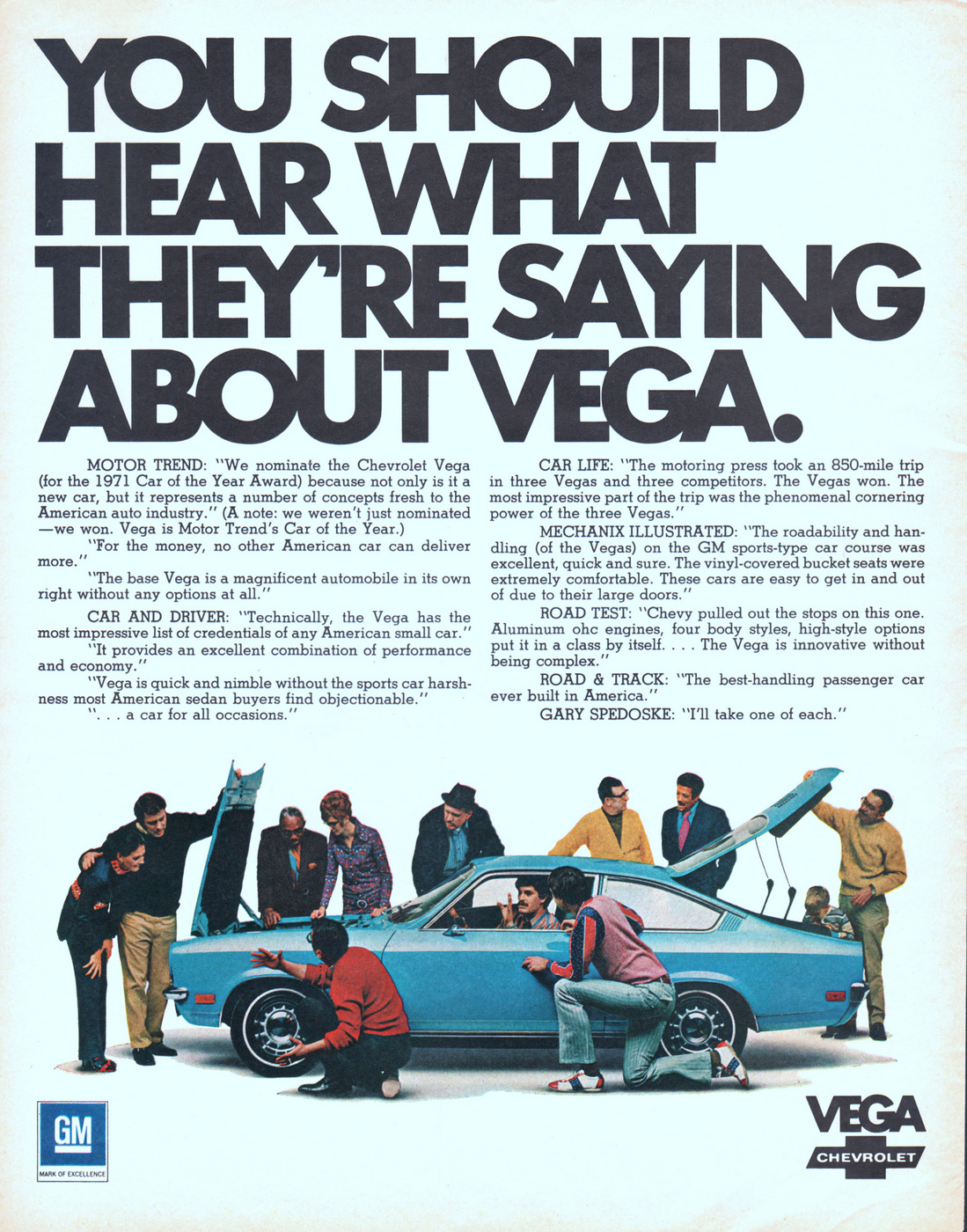 Blue Chevy Vega 1971 Ad. Automobiles. Stock Number: 21269.