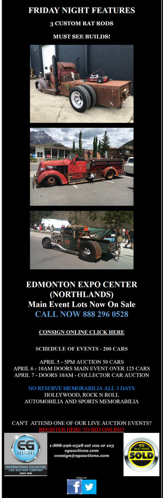 EG AUCTIONS 2019 12th Annual Red Deer Collector Car Auction